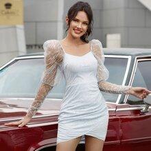 Double Crazy vestido de malla con lentejuelas en contraste