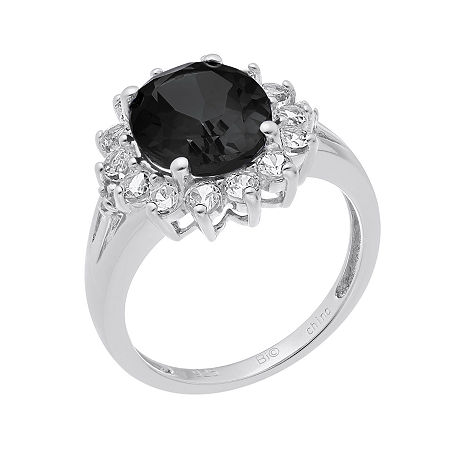 Oval Genuine Black Onyx and Lab-Created White Sapphire Ring, 7 , No Color Family