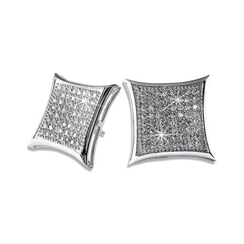 Deep Kite .925 Sterling Silver CZ Hip Hop Earrings