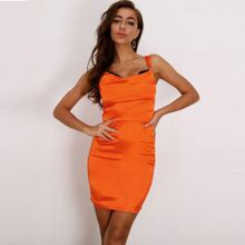 Neon Orange Lace Trim Satin Bodycon Dress