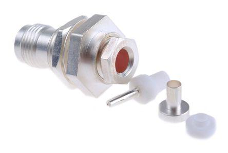RS PRO Straight 50Ω Bulkhead MountBulkhead Fitting Coaxial Connector, jack, Clamp Termination, URM 43, URM 46