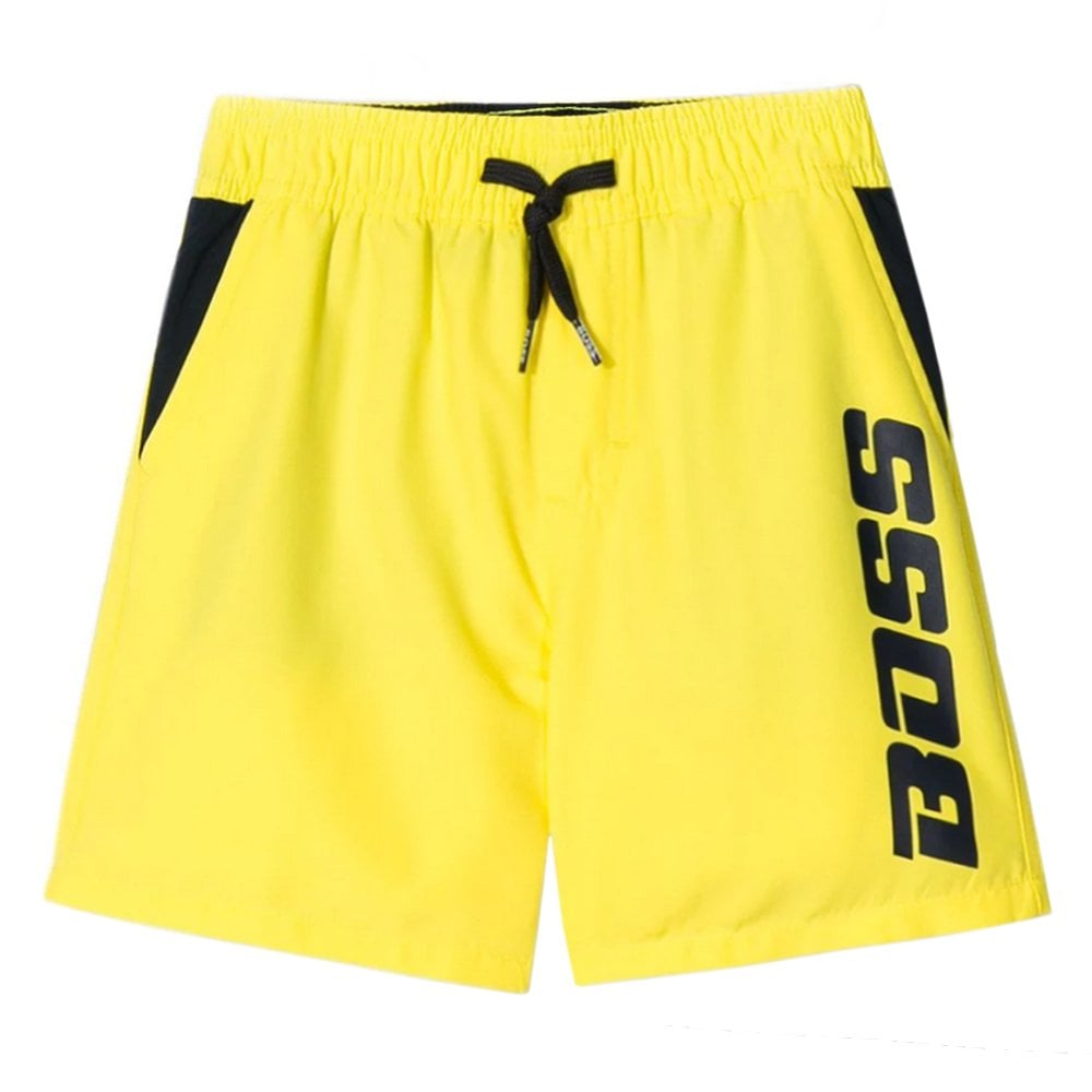 Hugo Boss Kids Yellow Logo Swimshorts Colour: YELLOW, Size: 14 YEARS