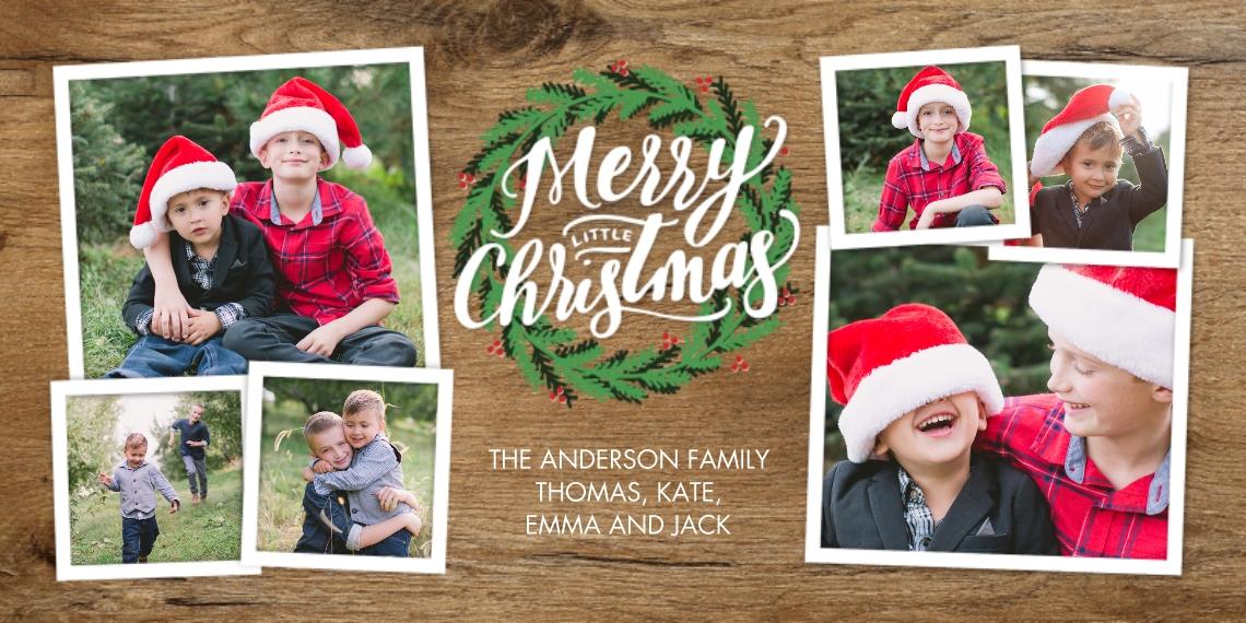 Christmas Photo Cards 4x8 Flat Card Set, 85lb, Card & Stationery -Christmas Festive Wreath
