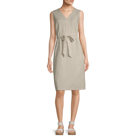 Liz Claiborne Sleeveless A-Line Dress, Xx-large , Beige