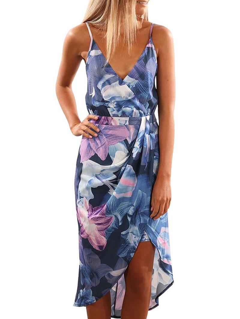 Ericdress Asymmetrical Floral Casual Mid-Calf Sleeveless V-Neck Dress
