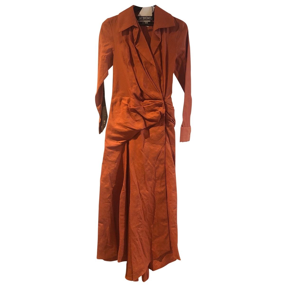 Jacquemus Le Souk Kleid in  Orange Leinen