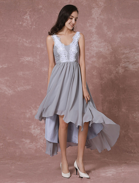 Milanoo Short Prom Dress Chiffon Cocktail Dress High-low Lace Applique Backless Party Dress