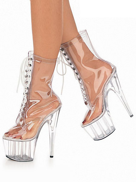 Milanoo Women Sexy Boots Transparent Platform Round Toe Lace Up High Heel Clear Boots