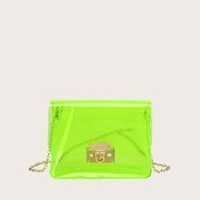 Neon Lime Klare Kette Tasche