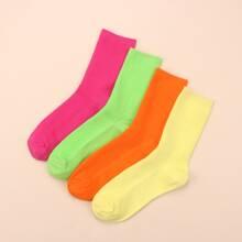 4pairs Plain Ankle Socks