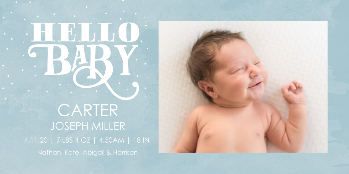 Baby Boy Announcements 4x8 Flat Card Set, 85lb, Card & Stationery -Typography Baby Blue