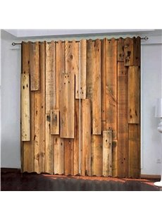 3D Vintage Rustic Theme Realistic Wooden Doors Blackout Decorative Curtain for Living Room