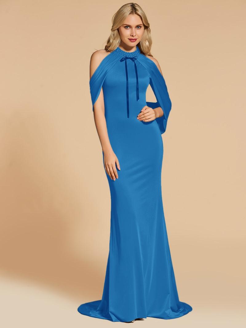 Ericdress Beaded Jewel Neck Mermaid Evening Dress With Sweep Train