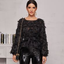 Frayed Detail Belted Sheer Blouse