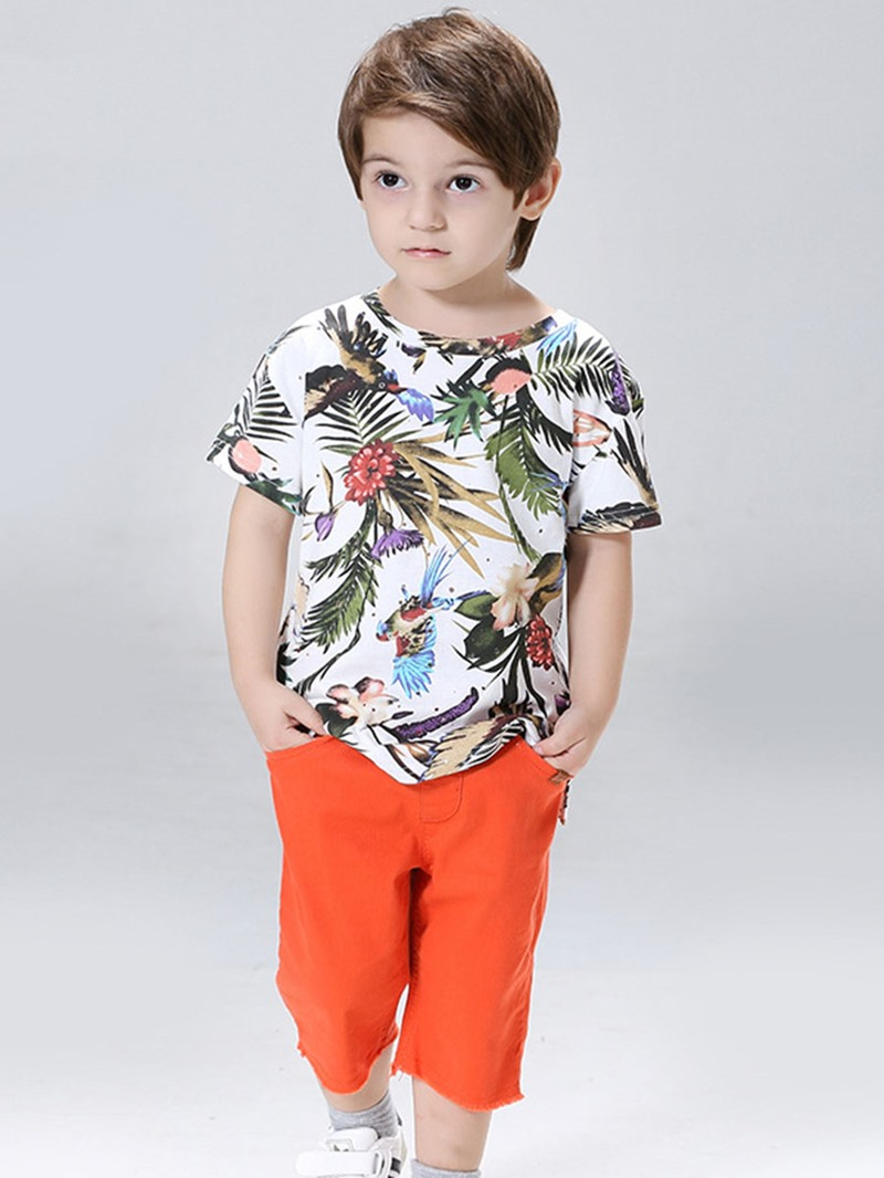 Ericdress Stylish Plant Print T-Shirt Pocket Pants Boys Casual Outfit