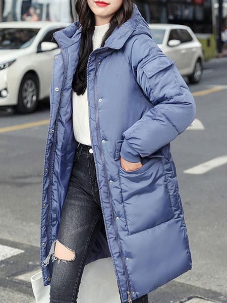 Milanoo Abrigos acolchados para mujer Blanco crudo Cremallera con capucha Manga larga Prendas de abrigo de invierno
