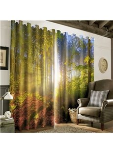 3D Soft Sunlight and Green Trees Printed Morning Scenery 2 Panels Decorative and Blackout Curtain