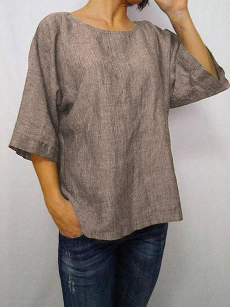 Women Solid Color 3/4 Sleeve Crew Neck Blouse