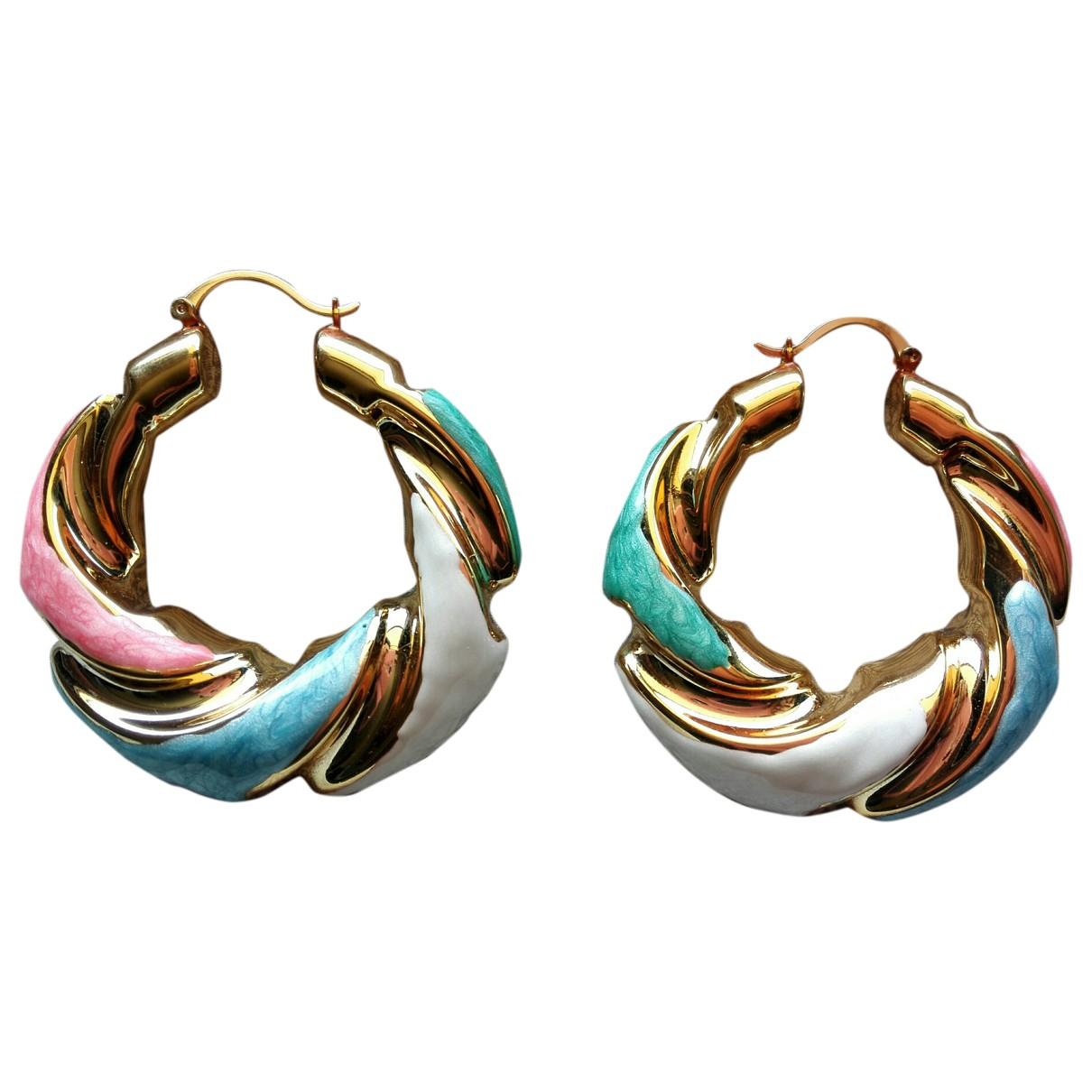 - Boucles doreilles Creoles pour femme en metal - multicolore