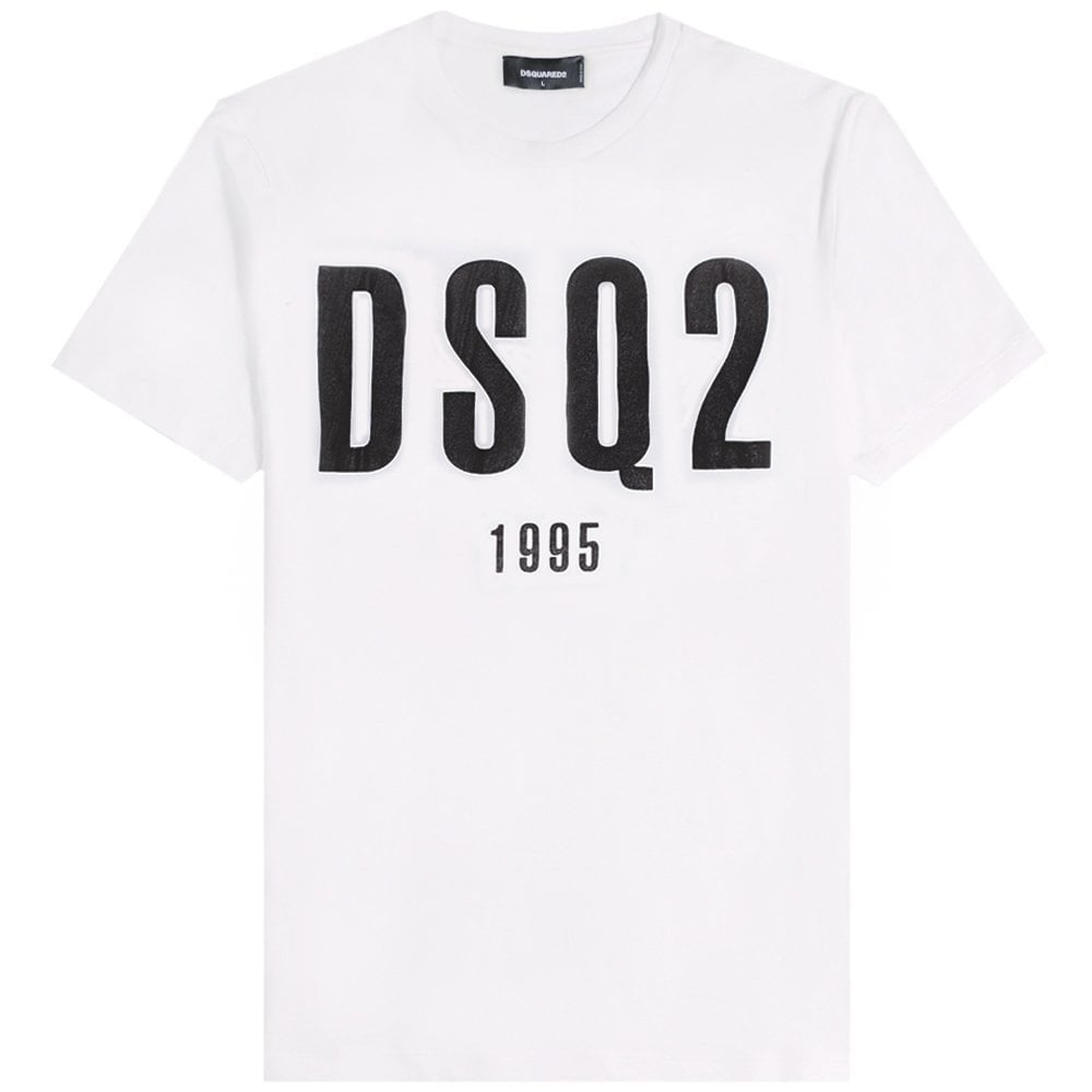 DSquared2 DSQ2 1995 Graphic T-Shirt Colour: WHITE, Size: EXTRA EXTRA LARGE
