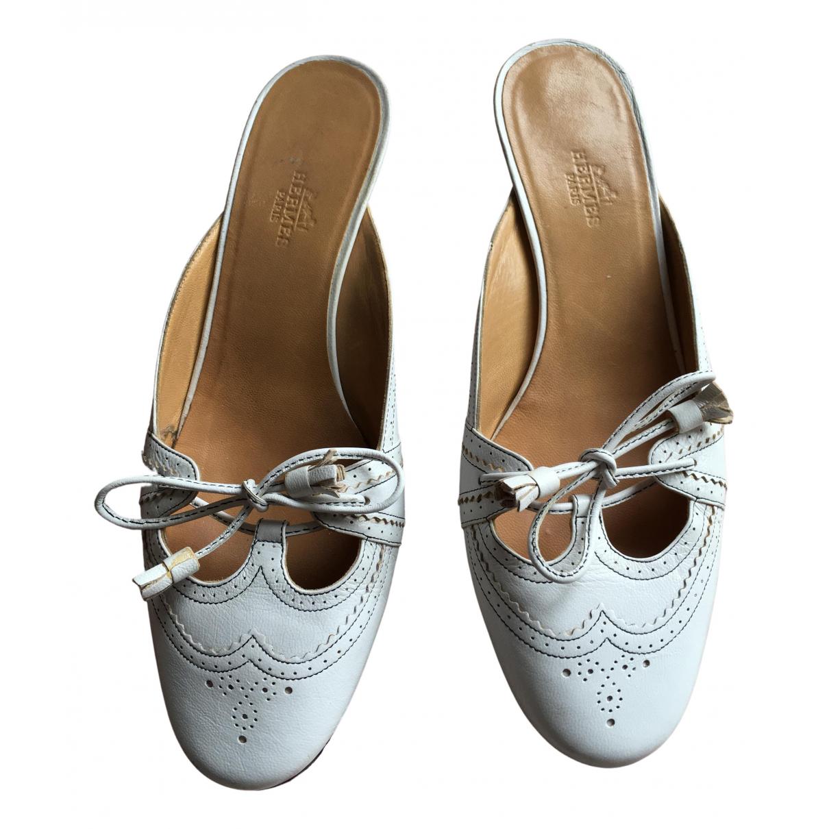 Hermes - Sandales   pour femme en cuir - blanc