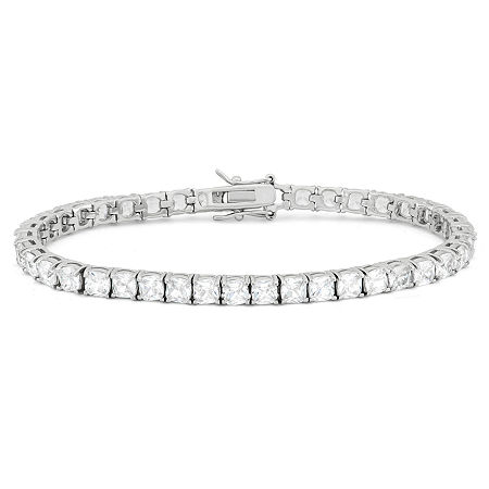DiamonArt White Cubic Zirconia Sterling Silver 7.25 Inch Tennis Bracelet, One Size , No Color Family