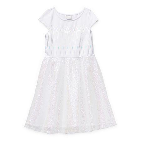 Disney Little & Big Girls Short Sleeve Cap Sleeve Frozen Tutu Dress, Medium (10-12) , White