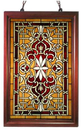 320212 Tiffany-style Wood Frame Stained Glass Window Panel in