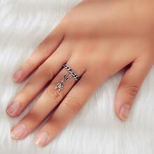 Rabbit Charm Cuff Ring