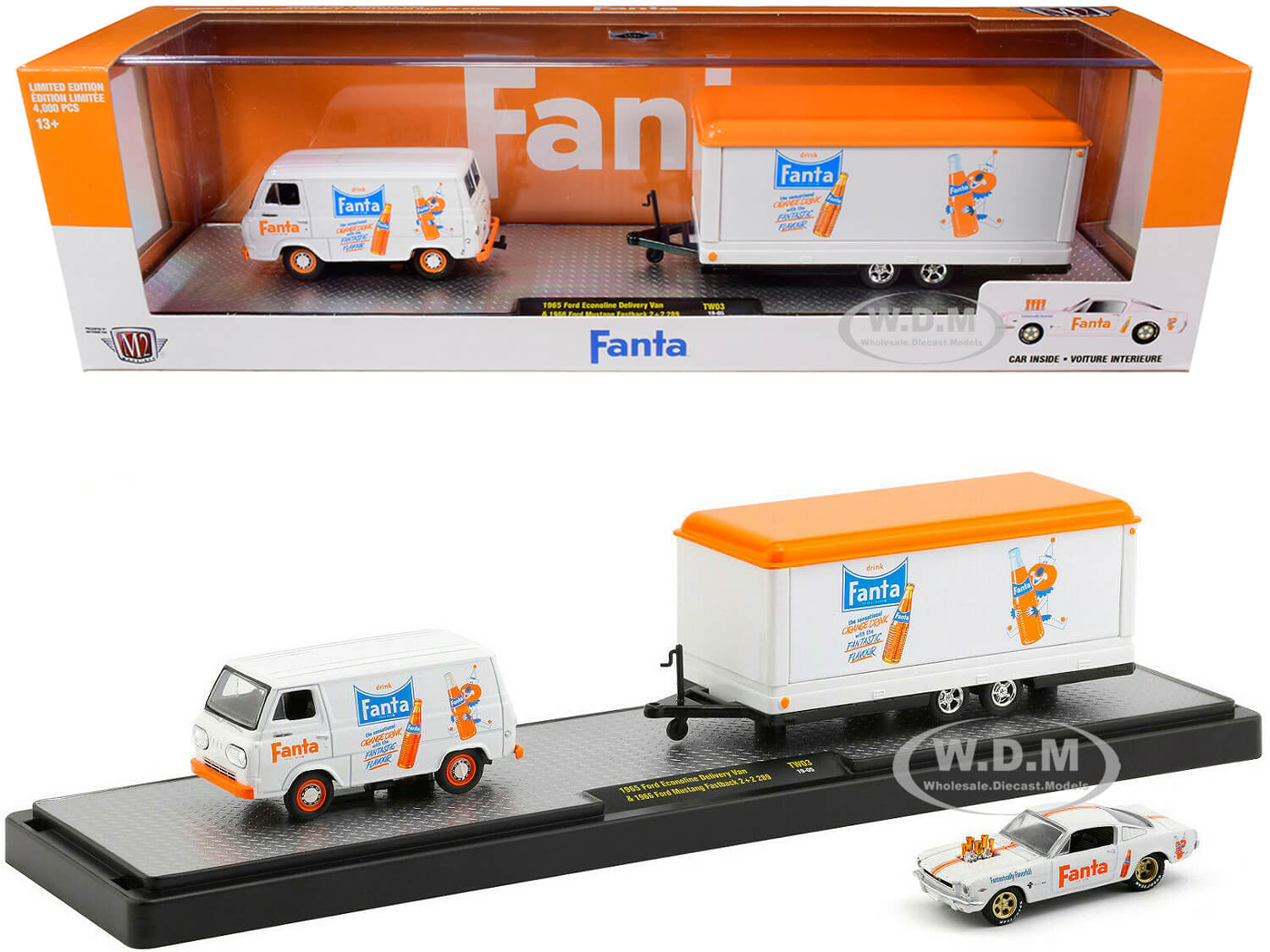 1965 Ford Econoline Delivery Van White with Trailer and 1966 Ford Mustang Fastback 22 289 White with Orange Stripes