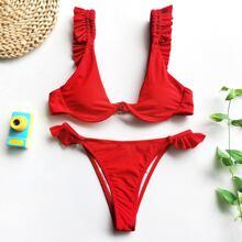Bikini Badeanzug mit Raffung und Buegel