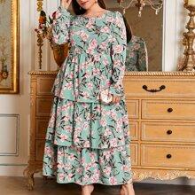 Plus Floral Print Layered Dress