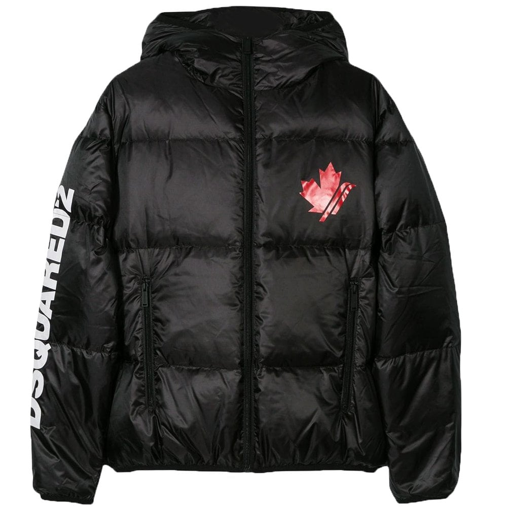 Dsquared2 Kids Maple Leaf Puffa Jacket Colour: BLACK, Size: 10 YEARS