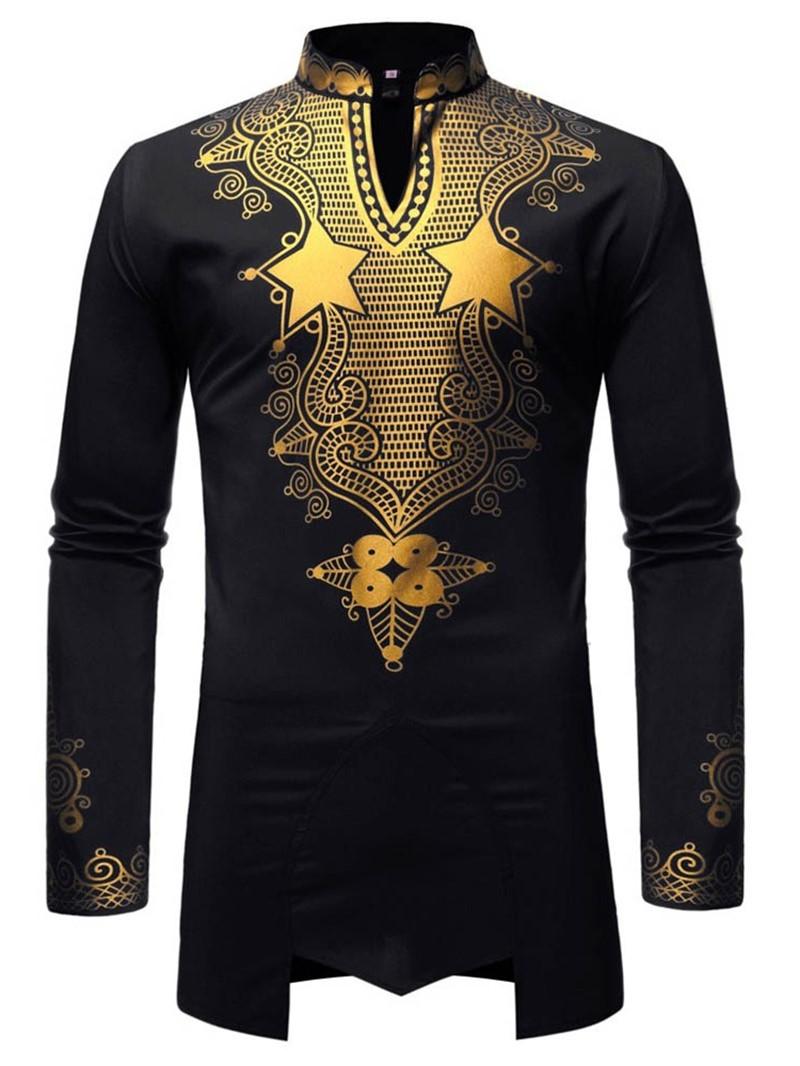 Ericdress African Fashion Dashiki Print Casual Mens Slim Shirt