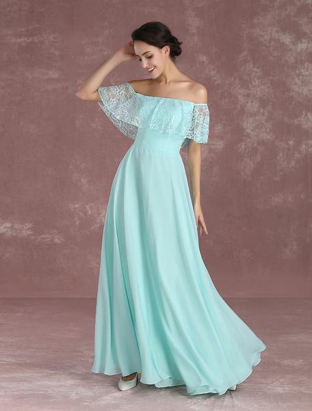 Milanoo Long Prom Dresses 2020 Off The Shoulder Prom Dress Mint Green Lace Chiffon Floor Length Evening Dress