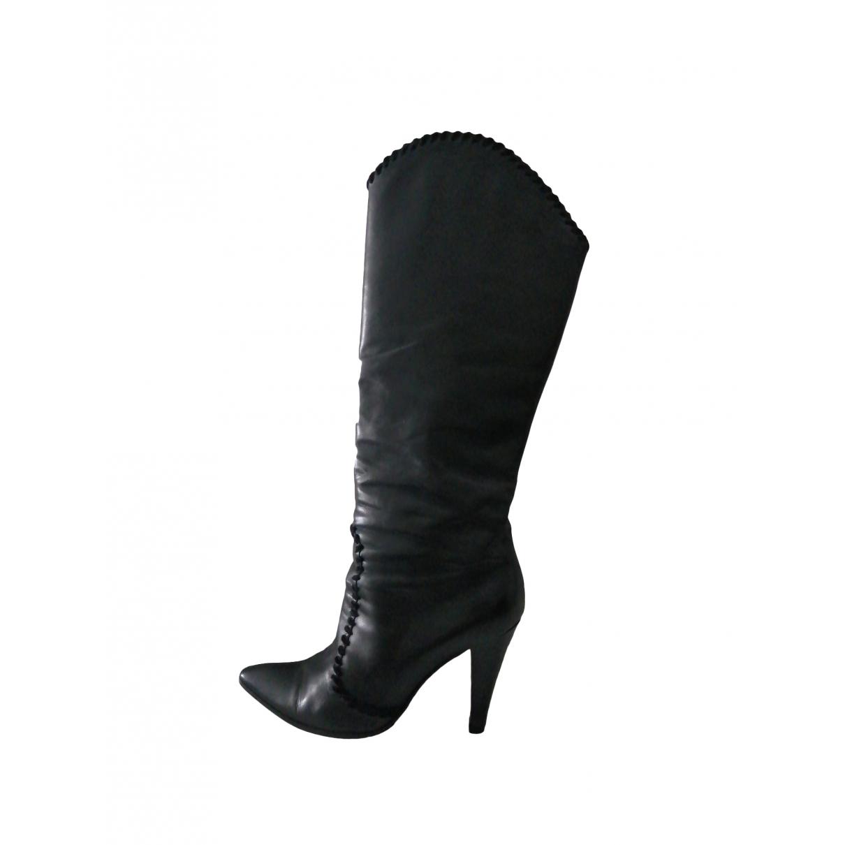 Pollini - Bottes   pour femme en cuir - noir