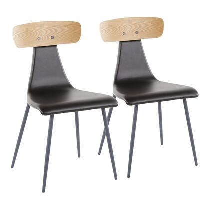 Elio Collection CH-ELIOGY+BK2 Set of 2 Chair with PU Leather Upholstery  Modern Contemporary Design  Metal Frame and Bentwood Backrest in Black