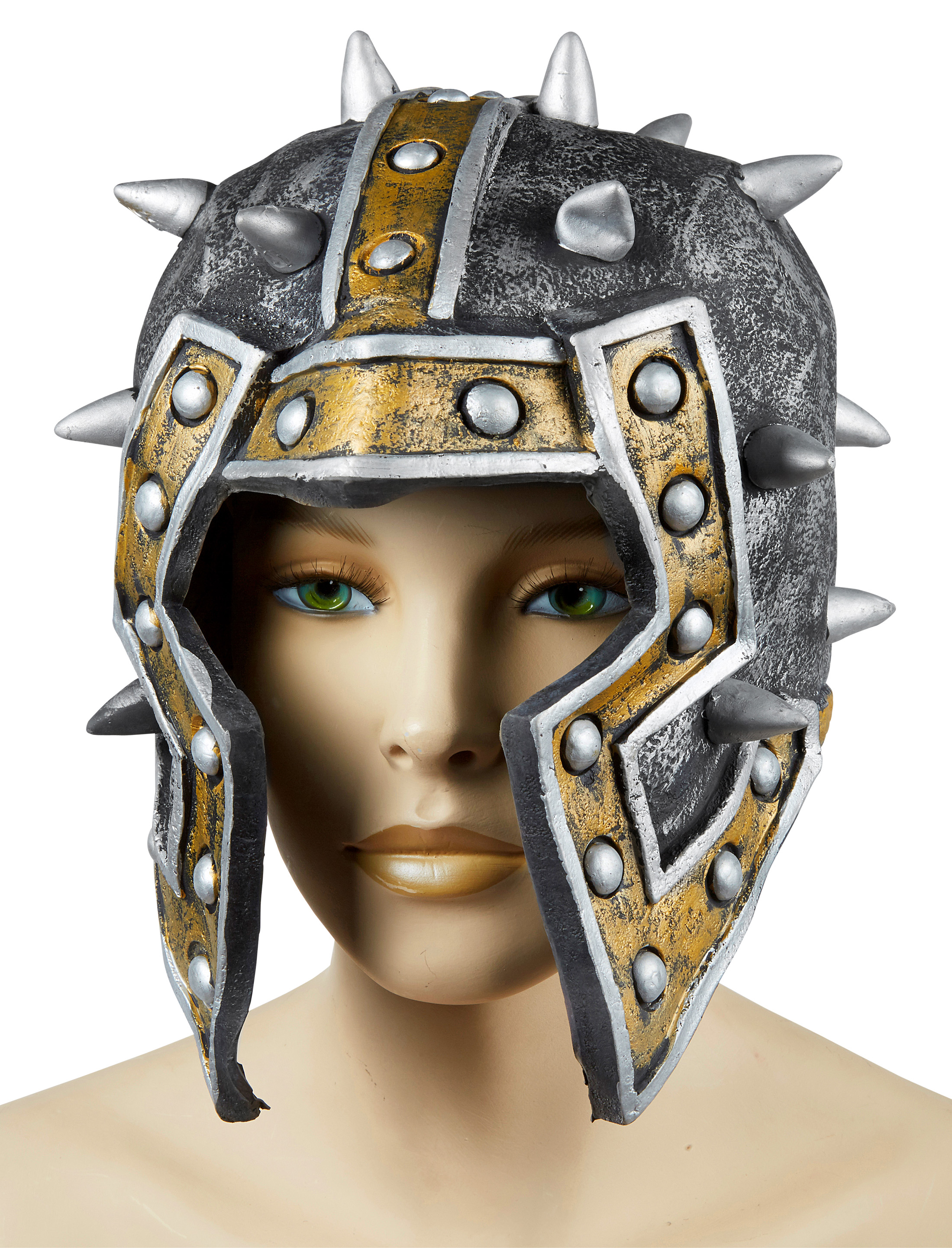 Kostuemzubehor Helm Latex Farbe: gold/silber
