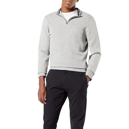 Dockers 1/4 Zip Sweater Split Crew Neck Long Sleeve Knit Pullover Sweater, Xx-large , Gray