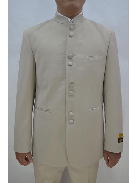 Mens Eight Button Mandarin Banded CollarTan Suits