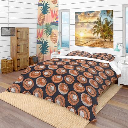 BED18911-Q Designart Champignons Pattern Modern & Contemporary Duvet Cover