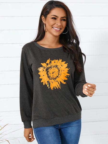 YOINS Grey Print Round Neck Long Sleeves Sweatshirt
