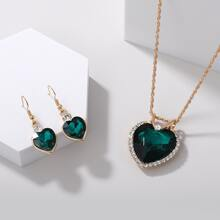 3 piezas set joya con diseño de corazon de cristal