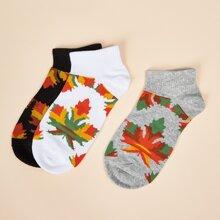 3 Paare Socken mit Blatt Muster
