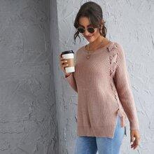 Lace Up Split Side Sweater
