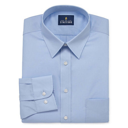 Stafford Mens Wrinkle Free Stain Resistant Stretch Super Shirt Big and Tall Dress Shirt, 19 34-35, Blue