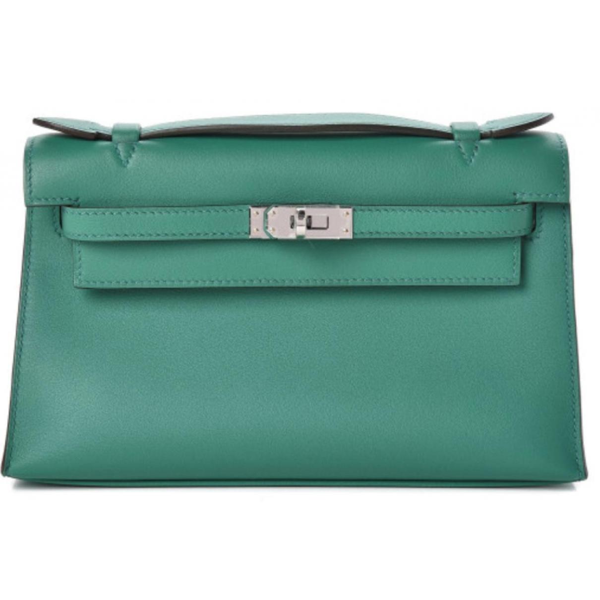 Hermès Kelly Clutch Green Leather Clutch bag for Women \N