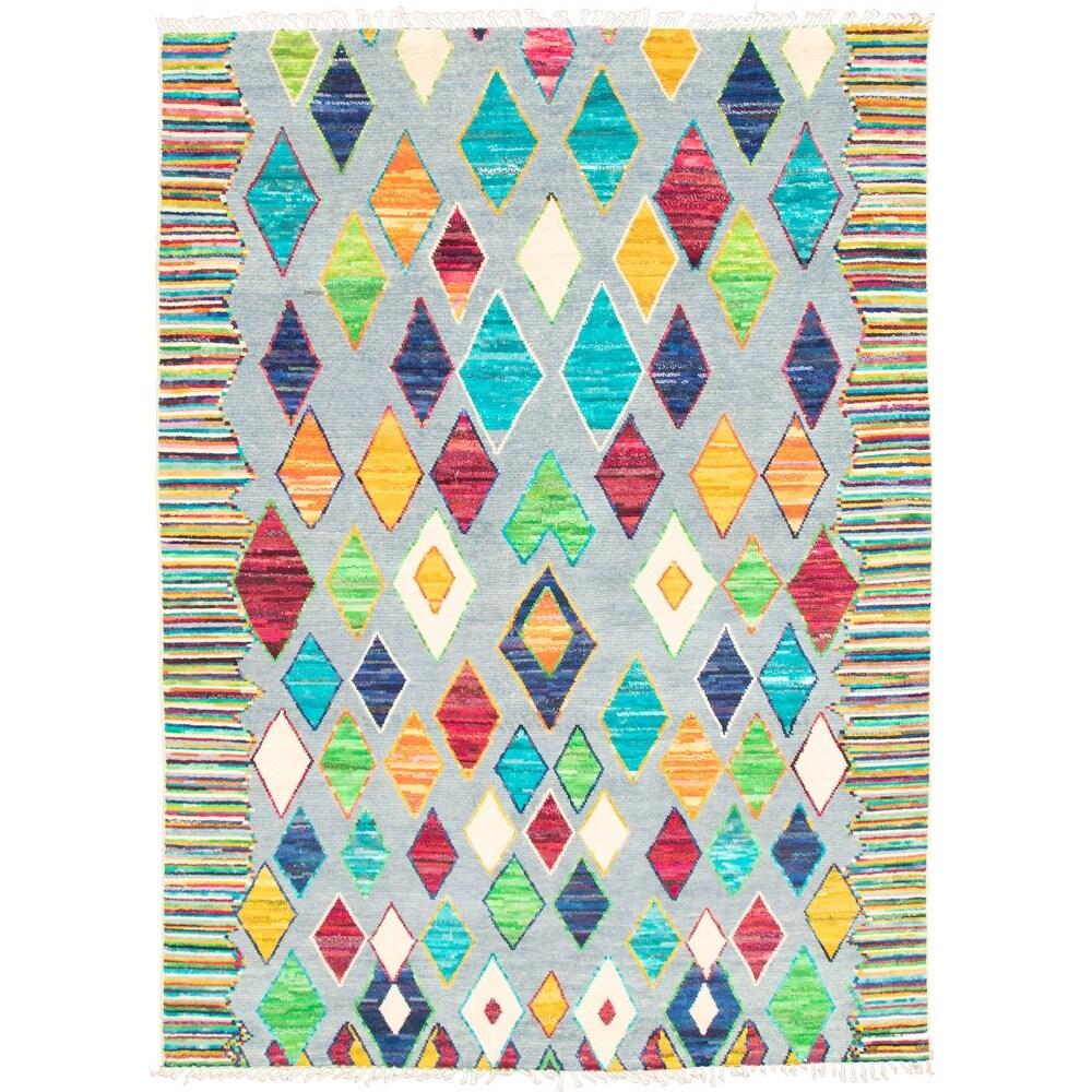 ECARPETGALLERY  Hand-knotted Pak Finest Marrakesh Multi Color Wool Rug - 88 x 121 (Multi Color - 88 x 121)