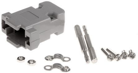MH Connectors , MHCCOV ABS D-sub Connector Backshell, 9 Way, Strain Relief, Grey (5)