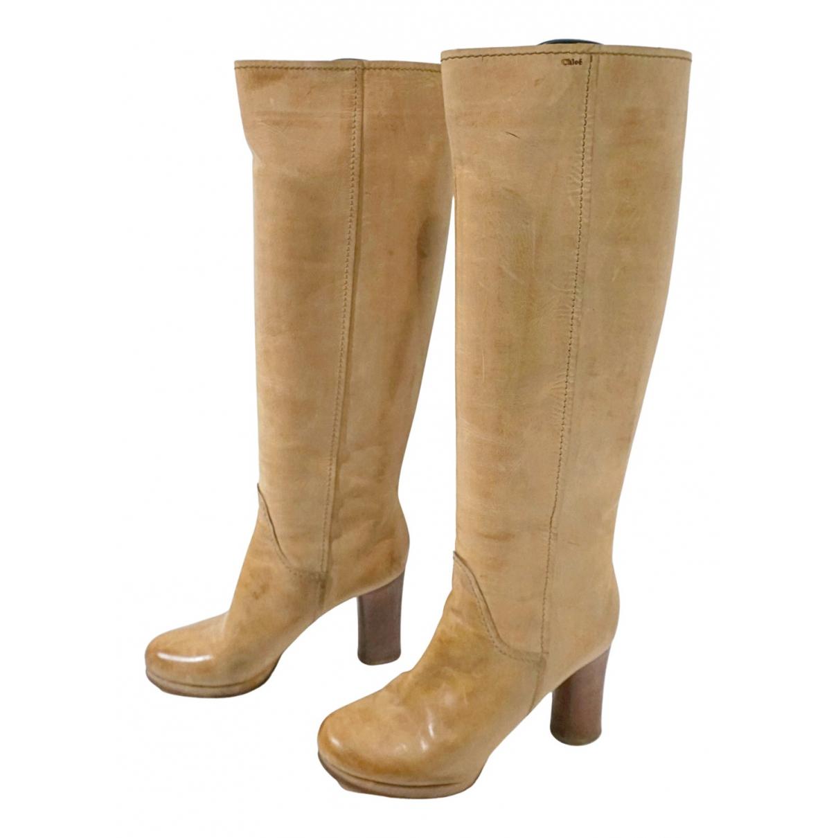 Chloe - Escarpins   pour femme en cuir - beige